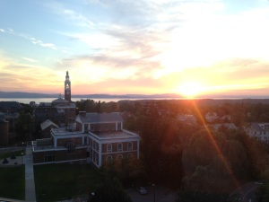 Sunset over Burlington and Lake Champlain from the Labor and Delivery Lounge at UVM Medical Center
